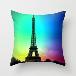 paris Colorful Throw Pillow