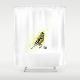 American Goldfinch in Ink Shower Curtain