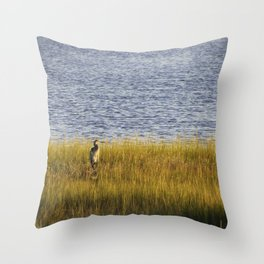 Blue Heron Was On Watch On The Golden Marshland Throw Pillow