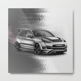 Porsch Cayenne Sakura Artrace body-kit. Metal Print