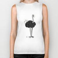 ostrich Biker Tanks featuring Ostrich? by Annadiplosis