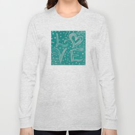Teal Love Heart Long Sleeve T-shirt