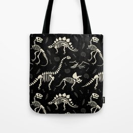 Dinosaur Fossils on Black Tote Bag
