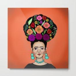 Frida Floral Metal Print
