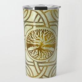 Golden Tree of life  -Yggdrasil on vintage paper Travel Mug