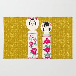 Japanese Kokeshi on Gold-leaf Screen Rug