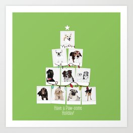 Have a Paw-some Holiday! Dog tree Art Print