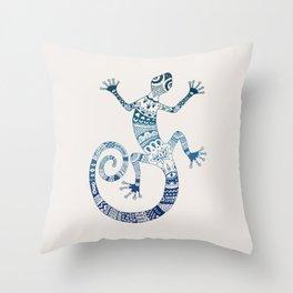 Blue Gecko Throw Pillow