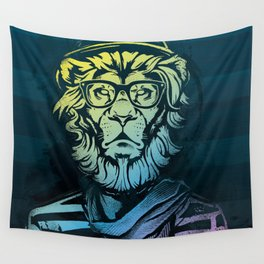 Hipster Lion Black and White Wall Tapestry