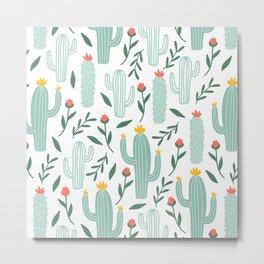 Mint Cactus Garden Metal Print