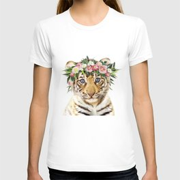 Baby Tiger With Flower Crown, Baby Animals Art Print By Synplus T-shirt