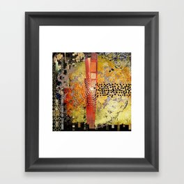 Orange Gold Burst Abstract Art Collage Framed Art Print