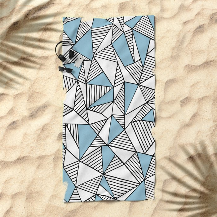 Abstraction Lines Sky Blue Beach Towel