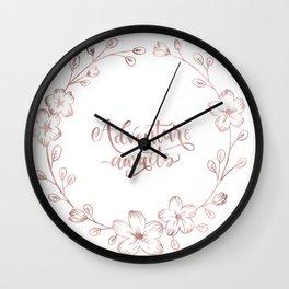 Rose Gold Handlettering Floral Wreath Design: Adventure Awaits Wall Clock