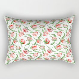 Hand painted white red green watercolor floral Rectangular Pillow