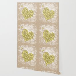 Romantic butterfly swarm on peach texture Wallpaper