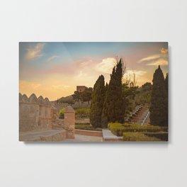 Sunset in castle La Alcazaba Metal Print