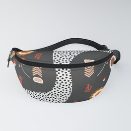 Acorns, flowers and a dotted river Fanny Pack