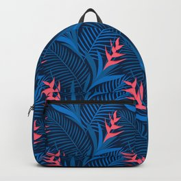 Tropical Flowers Blue Backpack