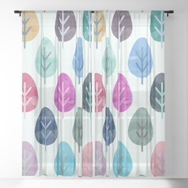 Watercolor Forest Pattern Sheer Curtain
