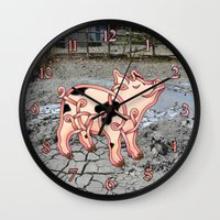 piglet Wall Clocks featuring Piglet Knot by Knot Your World