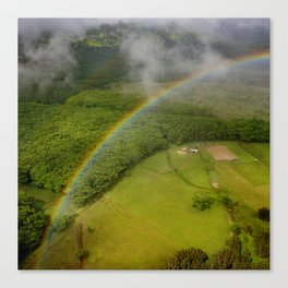 Hawaiian Rainbow Over Valley in Kauai: Aerial View Canvas Print
