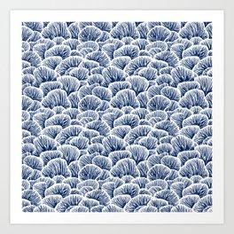 Mushroom Pattern - Dark Blue Art Print