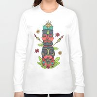 tiki Long Sleeve T-shirts featuring Tiki totem by Binnyboo
