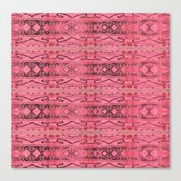 Vintage Tribal Distressed Coral Pink Canvas Print