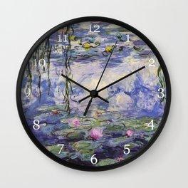 1917 Water Lilies oil on canvas. Claude Monet. Vintage fine art. Wall Clock