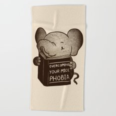 Elephant Overcoming Your Mice Phobia Beach Towel