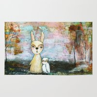 best friend Area & Throw Rugs featuring My Best Friend, Abstract Landscape Art Painting Rabbit Owl Grunge by Itaya Art