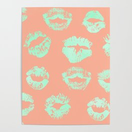 Sweet Life Lips Peach Coral + Mint Meringue Poster
