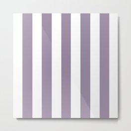 Deep amethyst grey - solid color - white vertical lines pattern Metal Print