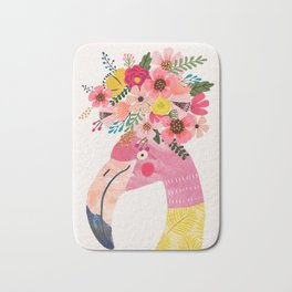 Pink flamingo with flowers on head Bath Mat