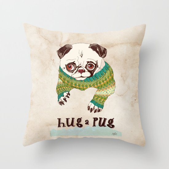 Hug a Pug Throw Pillow