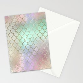Mermaid Scales Pastel Shimmering Iridescent Gold and Rainbow Hues Stationery Cards