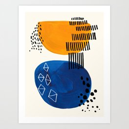 Fun Colorful Abstract Mid Century Minimalist Yellow Navy Blue Whiscial Patterns Organic Shapes Art Print