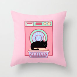Cat Nap Black Kitten Throw Pillow