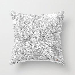 Berlin Map Line Throw Pillow