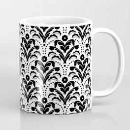 Retro Deco Damask Black and White Coffee Mug