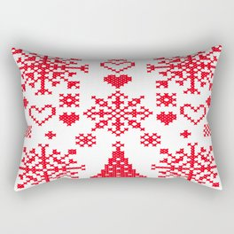 Christmas Cross Stitch Embroidery Sampler Red And White Rectangular Pillow