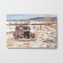 Rusty, Antique Auto in a Snow-Covered Field Metal Print