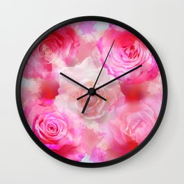 Painterly Romantic roses in pink, red and cream Wall Clock