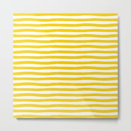 Yellow And White Horizontal Stripes Metal Print