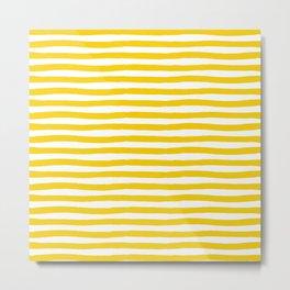 Yellow And White Horizontal Stripes Metal Print
