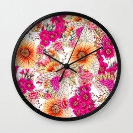 Pink orange spring vintage floral watercolor illustration pattern Wall Clock