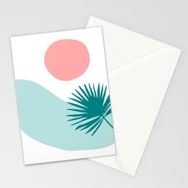 Tropical Beach, Minimalist Abstract Illustration Stationery Cards
