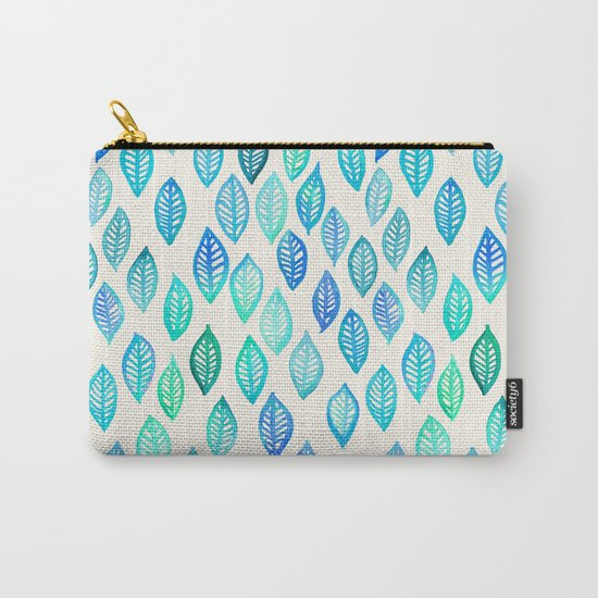 Watercolor Leaf Pattern in Blue & Turquoise Carry-All Pouch