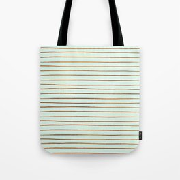Mint & Rose Gold Striped Pattern Tote Bag